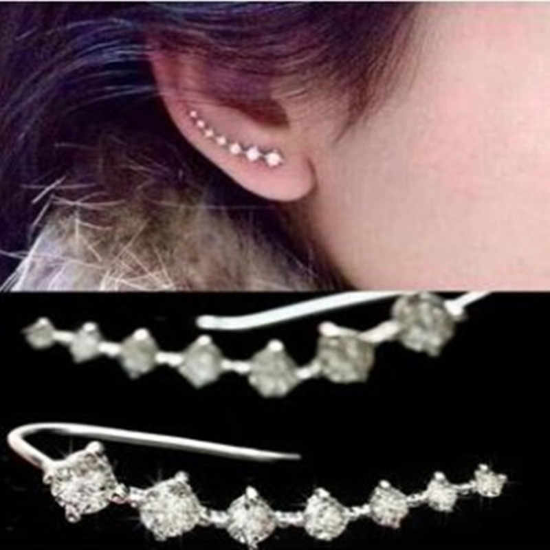 Fashion CZ crystal Jewelry Stud Earrings For women men crystal Jewelry accessione Ear Hook free shipping