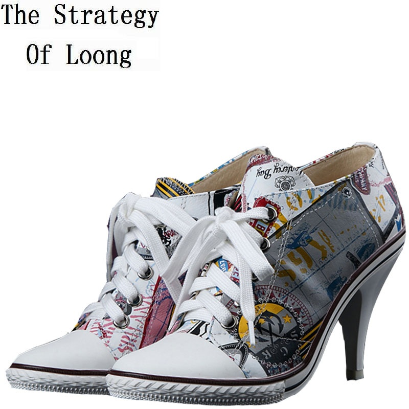 Europe America Style Spring Autumn Women Genuine Leather Thin High Heel Lace Up Low Cut Fashion Denim Shoes Size 34-41 SXQ0709 fashion europe style high quality brass