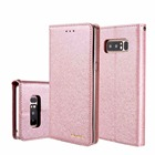 For Fundas Galaxy Note 8 Case Cover Silk Pattern Premium PU Leather Soft TPU Magnetic Wallet Case for Samsung Galaxy Note 8