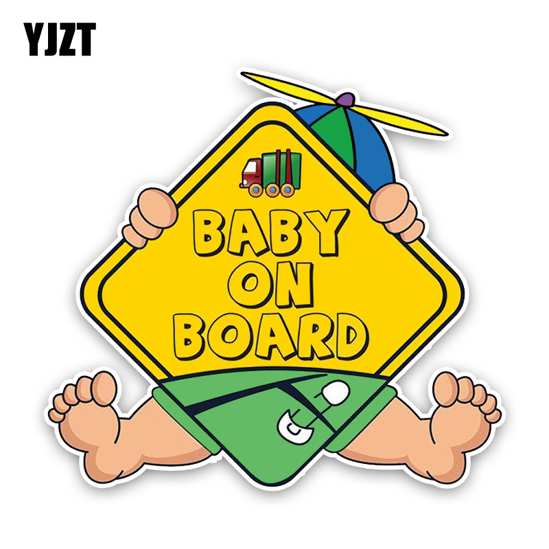 YJZT 14.9*13.6CM Lovely Interesting BABY ON BOARD Cartoon Graphic Car Sticker Decoration C1-5543