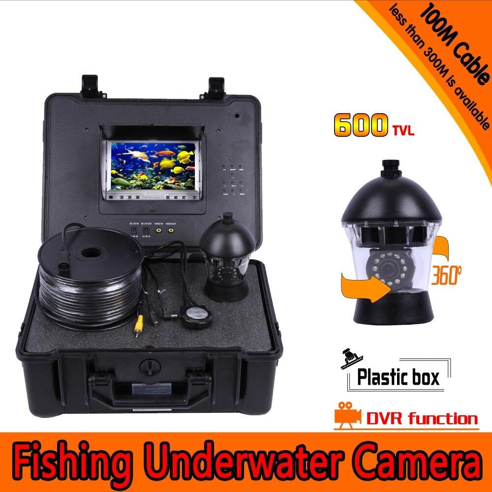 360 Degrés Panoramique Sous-Marine Pêche Caméra Kit avec 100 Mètres de Profondeur et 7 Pouces LCD Moniteur avec Micro-DVR & Case Plastique dur