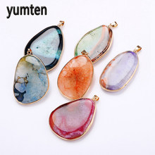 Yumten Natural Gems Irregular Crystal Pendants Long Necklace Gift Bag Zelda Wolf Watchdog Warface Unicorn Teen Wolf Soy Luna