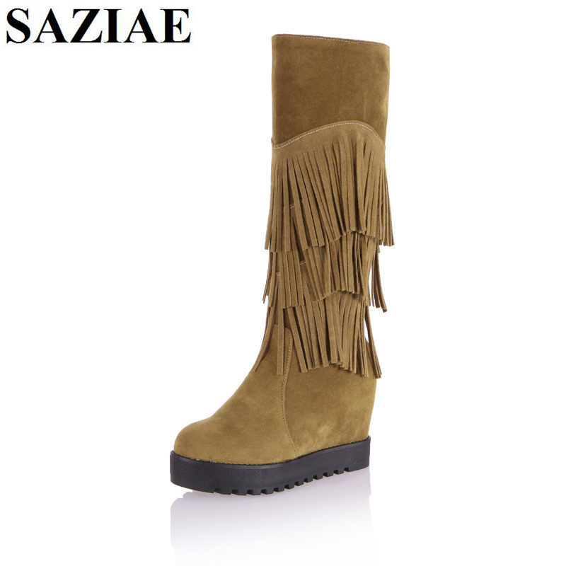 Plus Size 34-43 Winter Genuine Leather Women Boots High Heels Knee Boots Platform Fringe Tassel Fashion Shoes Woman Riding Boots 2017 big size 34 43 genuine leather ethnic knee boots add fur retro thick heels embroidery high quality fall winter shoes woman