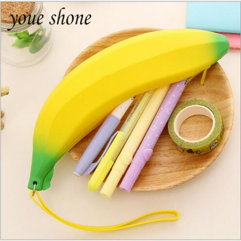 1PIECE High capacity Silicone Fruit Banana Student Supplies Pencil Bag pencil case shool pencil box in Pencil Bags from Office School Supplies