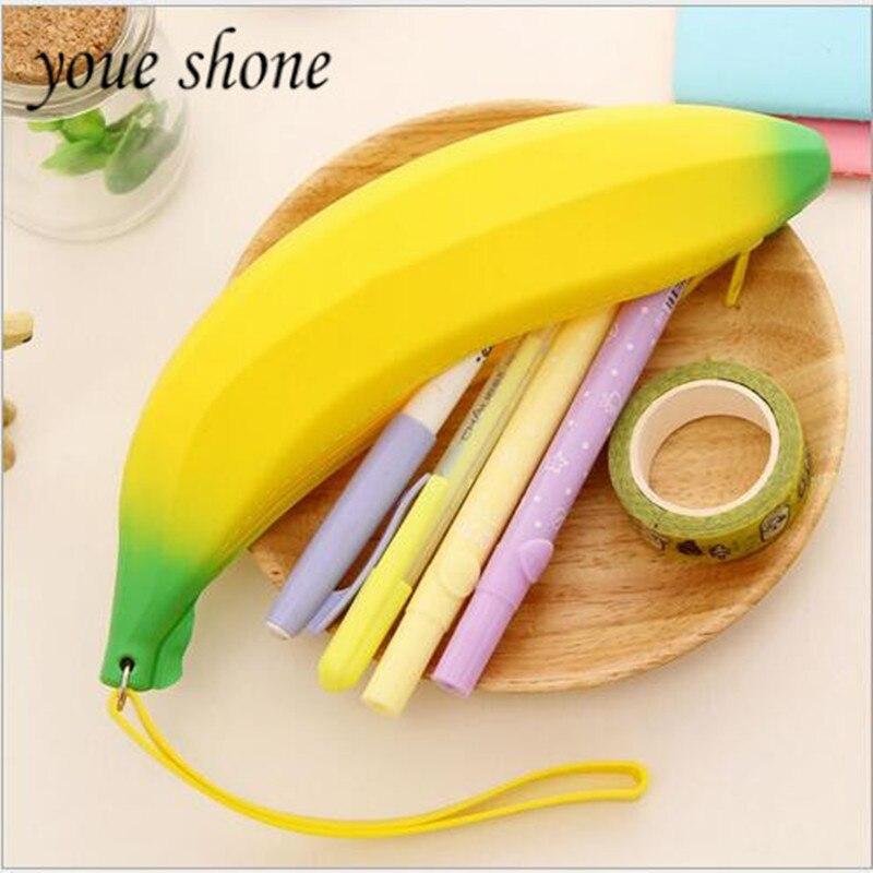 1PIECE  High capacity Silicone Fruit Banana Student Supplies Pencil Bag pencil case shool box