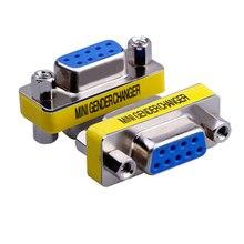 MIni gender changer 9 Pin RS232 DB9 macho a hembra adaptador de serie conector de Cable