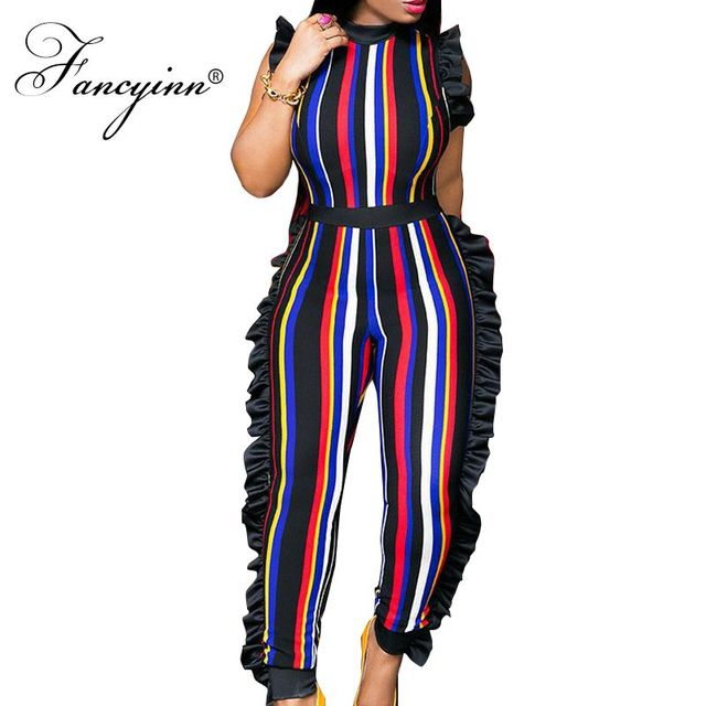 8b789a0919 FANCYINN Africa Style Plus Size Sexy Stripe Women Jumpsuits Romper High  Waist Summer Jumpsuit Playsuit Ruffle Overalls Bodycon