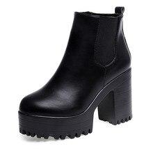 Женская обувь; ботинки на платформе; кожаные черные зимние ботинки на высоком каблуке; женская обувь; botas mujer