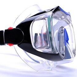 Buceo natación máscara Anti-niebla bajo el agua buceo máscara equipo cuatro lente de visión amplia máscara + fácil aliento seco Snorkel