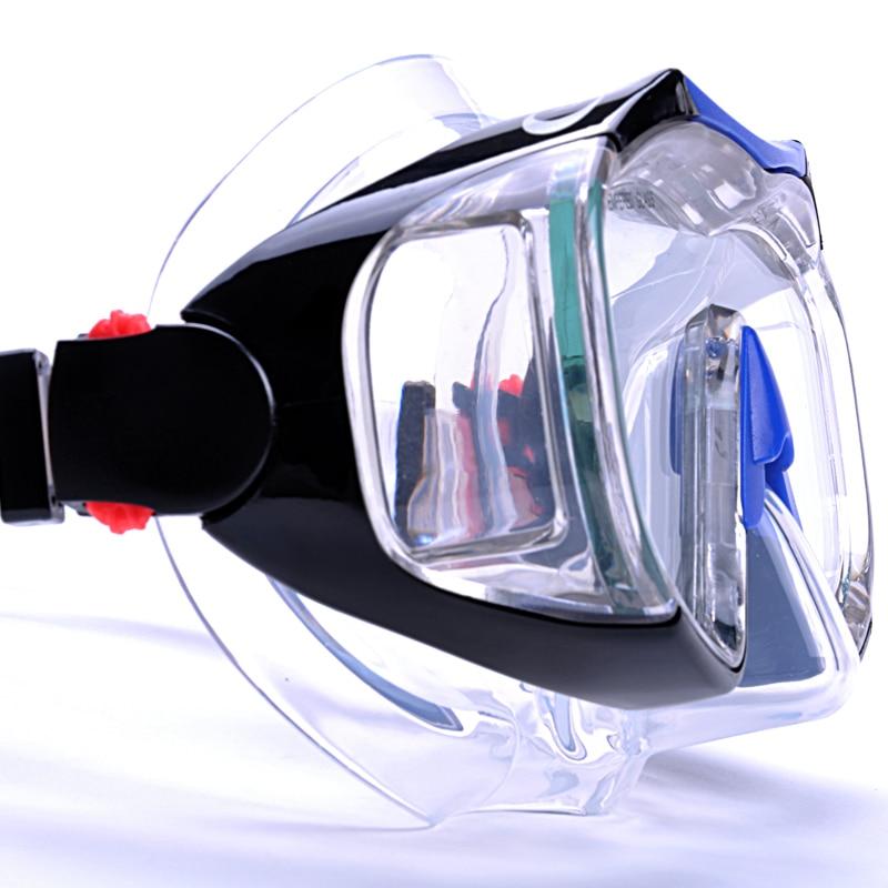 Plongée sous-marine Natation Masque Ensemble Anti-brouillard Sous-Marine En Apnée Masque Équipement Quatre Lentille Large Vision Masque + Facile Souffle sec Tuba