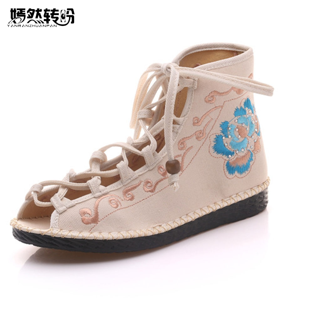 Chinese Women Flats Shoes Flower 2017 Summer New Sandals Peep Toe Embroidered Shoes Ethnic Lace up Shoes Woman new women chinese traditional flower embroidered flats shoes casual comfortable soft canvas office career flats shoes g006