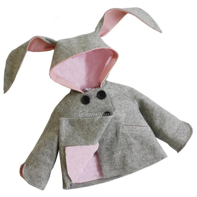 INS de inverno casaco de algodão camisola Do Bebê meninos e meninas roupas de bebê com capuz orelhas de coelho Camisolas pullover E1435
