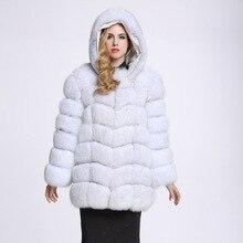 UPPIN шуба дубленка зимняя меховое пальто с капюшонами Для женщин длинные большой Размеры искусственного меха лисы пальто куртка Китай зимний Обувь на теплом меху пальто manteau шуба шуба натуральный мех