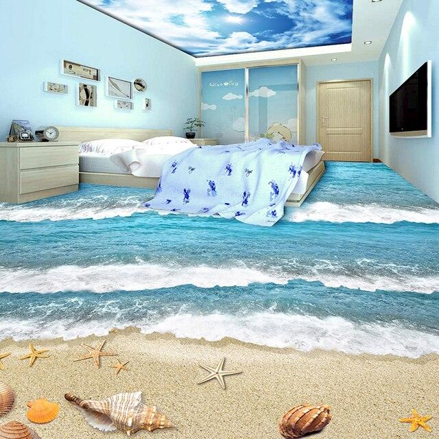 Charming PVC Self Adhesive Waterproof 3D Floor Tiles Wall Paper Sticker Modern Beach  Sea Wave Kids Bedroom