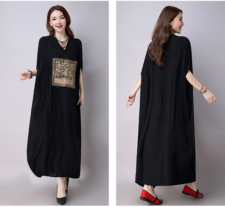 P Ammy grande taille robe d'été broderie lâche grande taille robes robe femmes caftan style chinois Maxi longue robe