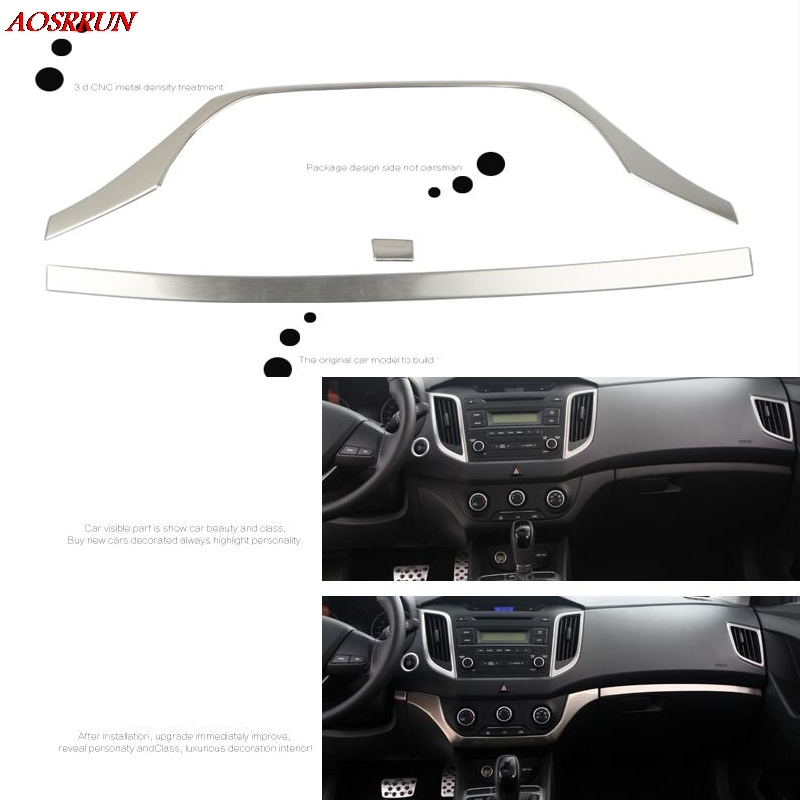 stainless steel car dashboard Central control decoration covers Air conditioning outlet trim For Hyundai Creta ix25 2014-2017
