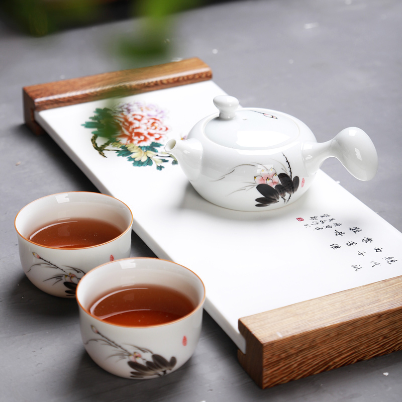 Drinkware Traditional Chinese Ceramic Kung Fu Teapot handmade set for Travel Porcelain teacups Hand-painted Pottery Teapot set