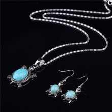 New Fashion Elegant Animal Turtle Shape Jewelry Sets Ancient Silver Plated Necklace Fine Fashion Charm Earrings Jewelry Sets
