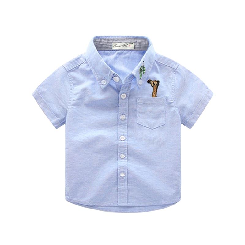 Baby Boy Clothes Giraffe School Boys Shirts Short Sleeve