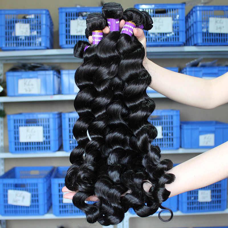 Gevşek dalga insan saç demetleri ile kapatma saç uzatma brezilyalı bakire saç örgü demetleri % 100% İnsan saç derin hiç güzellik