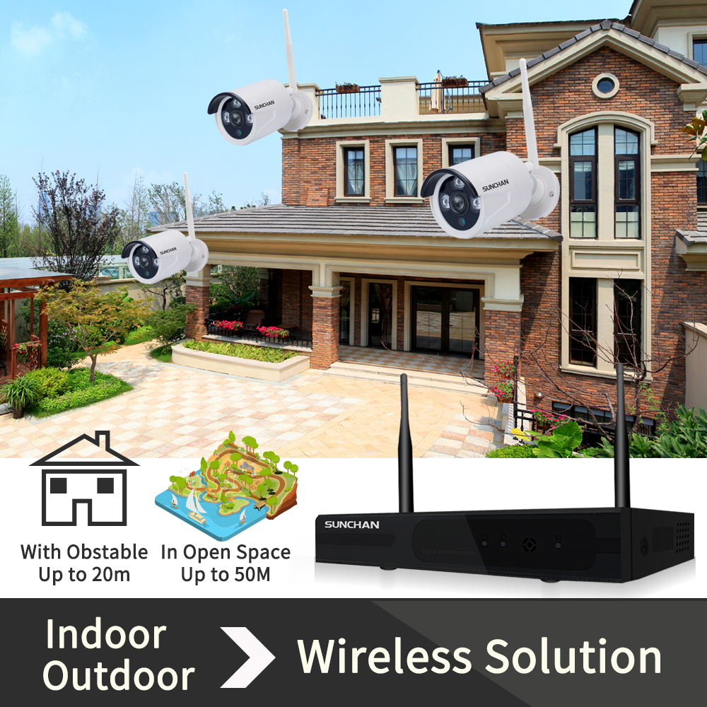medium resolution of sunchan full hd wireless surveillance camera system 8ch 1080p hd wifi outdoor security cameras video system with 1tb hdd in surveillance system from