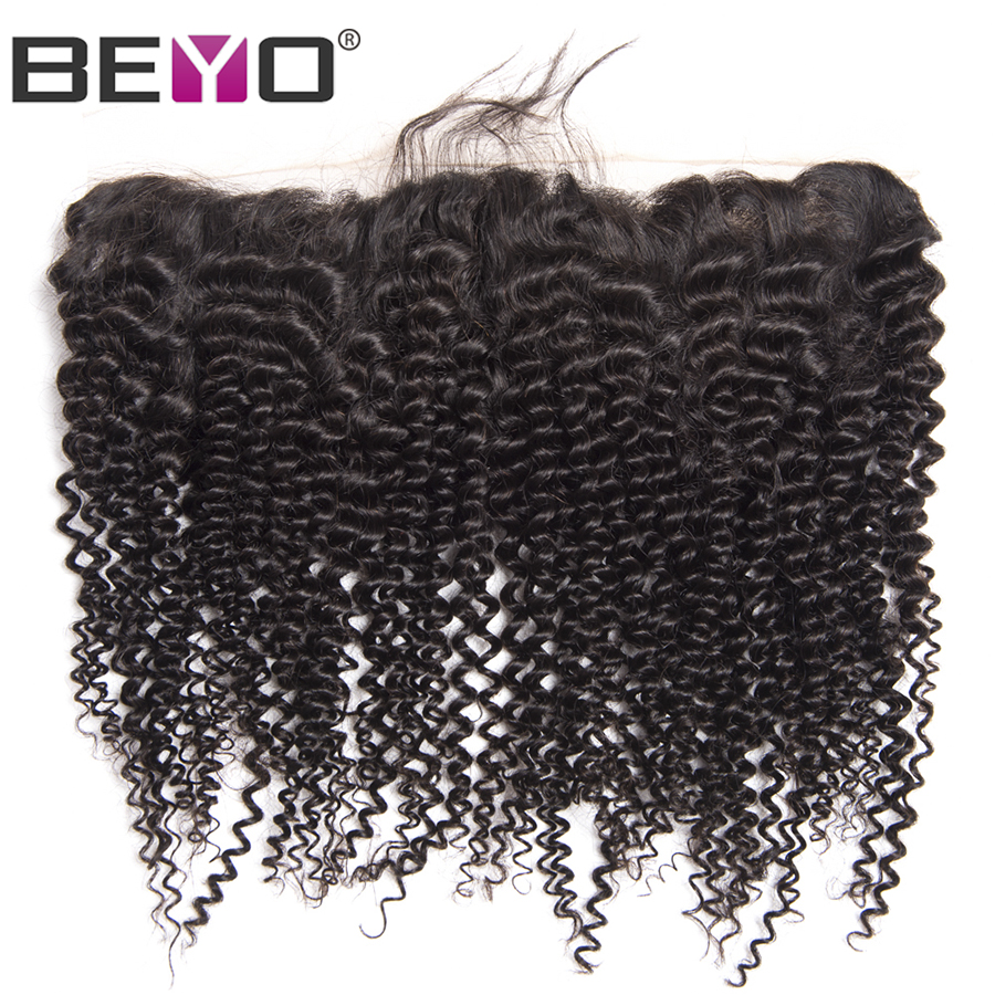 Beyo Ear To Ear Lace Frontal Closure Brazilian Kinky Curly Hair Human Hair Middle Three Free