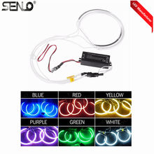 Auto luz LED Angel Eye 12v 6000k súper brillante 4 anillos con un inversor LED marcador Angel luces Halo anillo bombilla lámpara para BM W Z3(China)