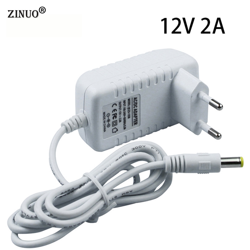 ZINUO DC12V 2A 24W EU Plug Power Adapter Charger Power Supply AC 100-240V to DC 12V 2A Converter LED Transfomer EU Standard Plug
