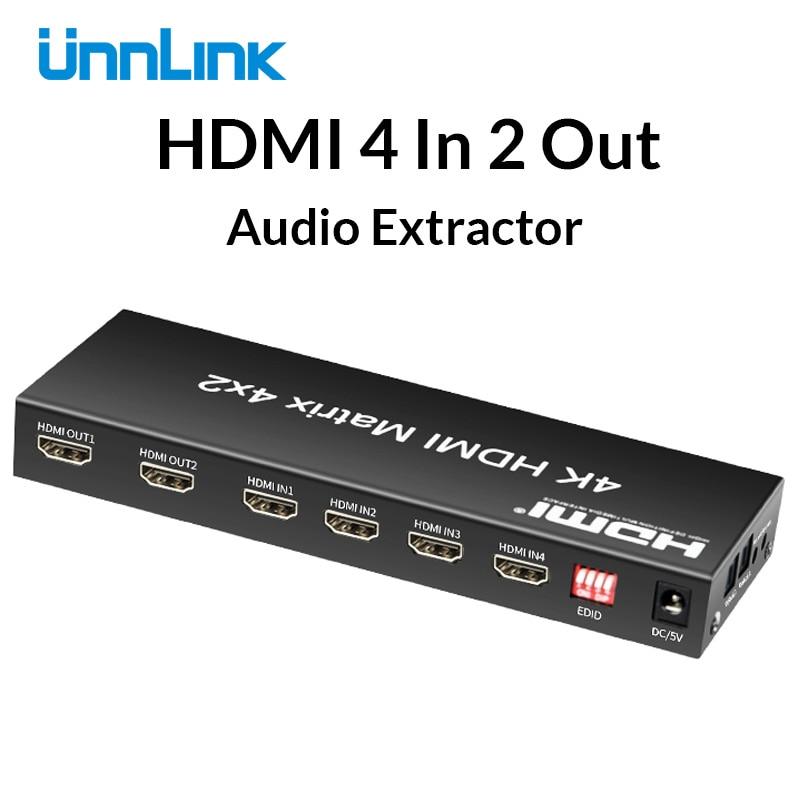 Unnlink HDMI Matrix 4x2 commutateur séparateur UHD 4 K Audio extracteur HIFI 5.1 SPDIF optique Toslink 3.5mm prise pour ps4 pc projecteur