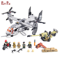 640 Military Helicopter Truck Special Forces Army Team With Weapon Building Blocks Compatible Legoed Brick Educational Toys Gift