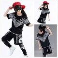 New Child Hip Hop Table Hip Hop Trousers Costume Short-sleeve Hip Hop Dance Costume for Boys Girls