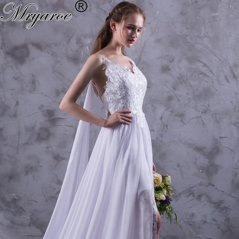 Mryarce 2017 Summer Chiffon Boho Wedding Dresses Spaghetti
