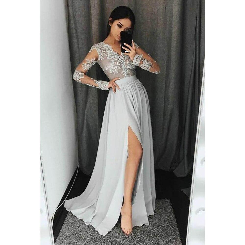 V Neck Floor Length   Prom     Dresses   A Line Long Sleeves Applique Front Split Chiffon Evening Formal Party   Dress   Vestido De Fiesta