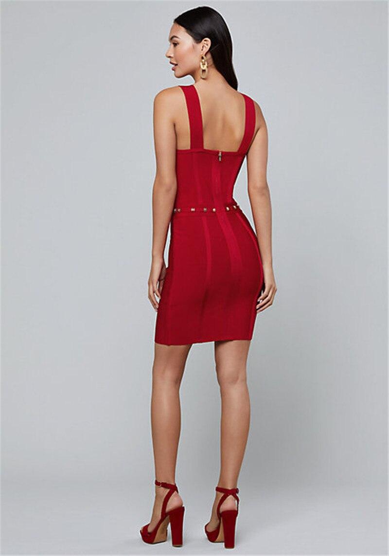 Réservoirs rouges robes pour femmes col en V bouton rayonne Mini robe Bandage robe de soirée - 3