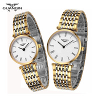 Couple Lover Watches Men Women Design watch Vintage Quartz Analog Wrist Watch GUANQIN Waterproof ultra thin 6mm 1 pair watches