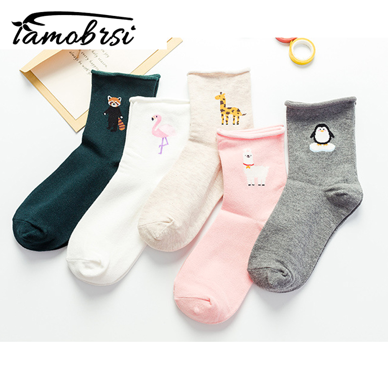 Modis Harajuku Cartoon Funny Women Casual Cotton Socks Women Short Sock Animal Flamingo Llama Lolita Happy Colorful Socks Female