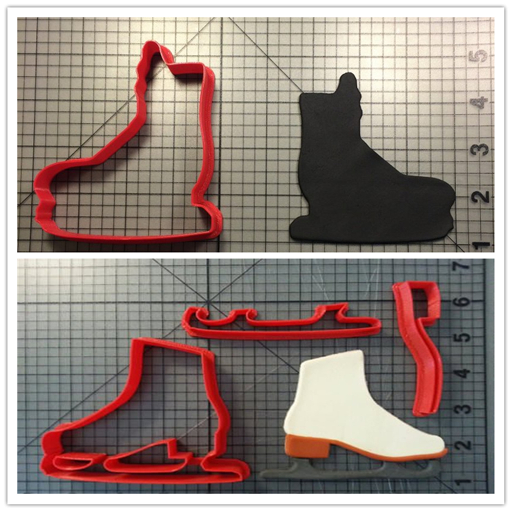 Sports Shoes And Ice Skate Series 3D Printed Cookie Cutter Set Cake Decorating Tools Fondant Cupcake Top