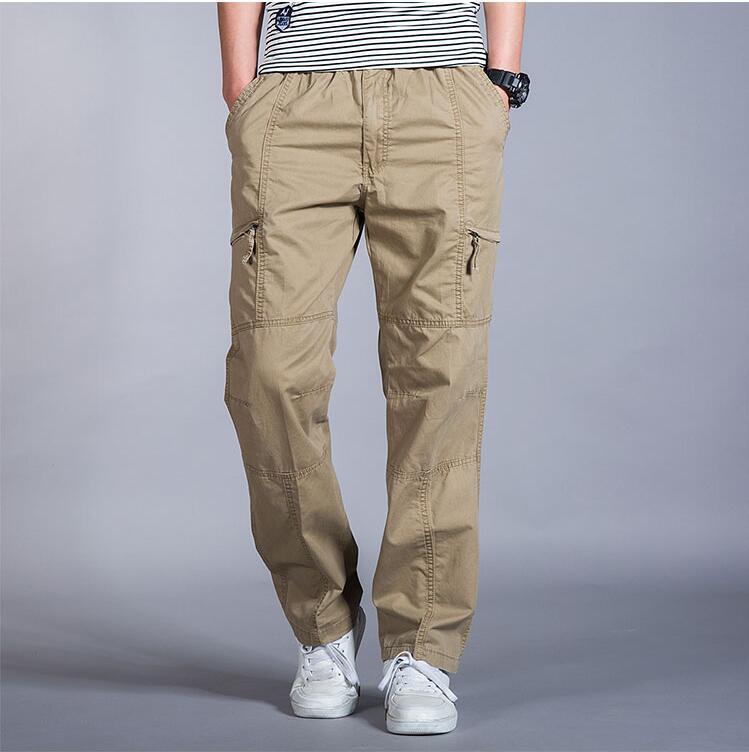 HTB1piKsIbGYBuNjy0Foq6AiBFXac Big Size Casual Men Joggers Pants 2018 summer Loose Wide Cargo Pants Cotton Jumpsuit Elastic Waist Harem tactica Trousers M-6XL