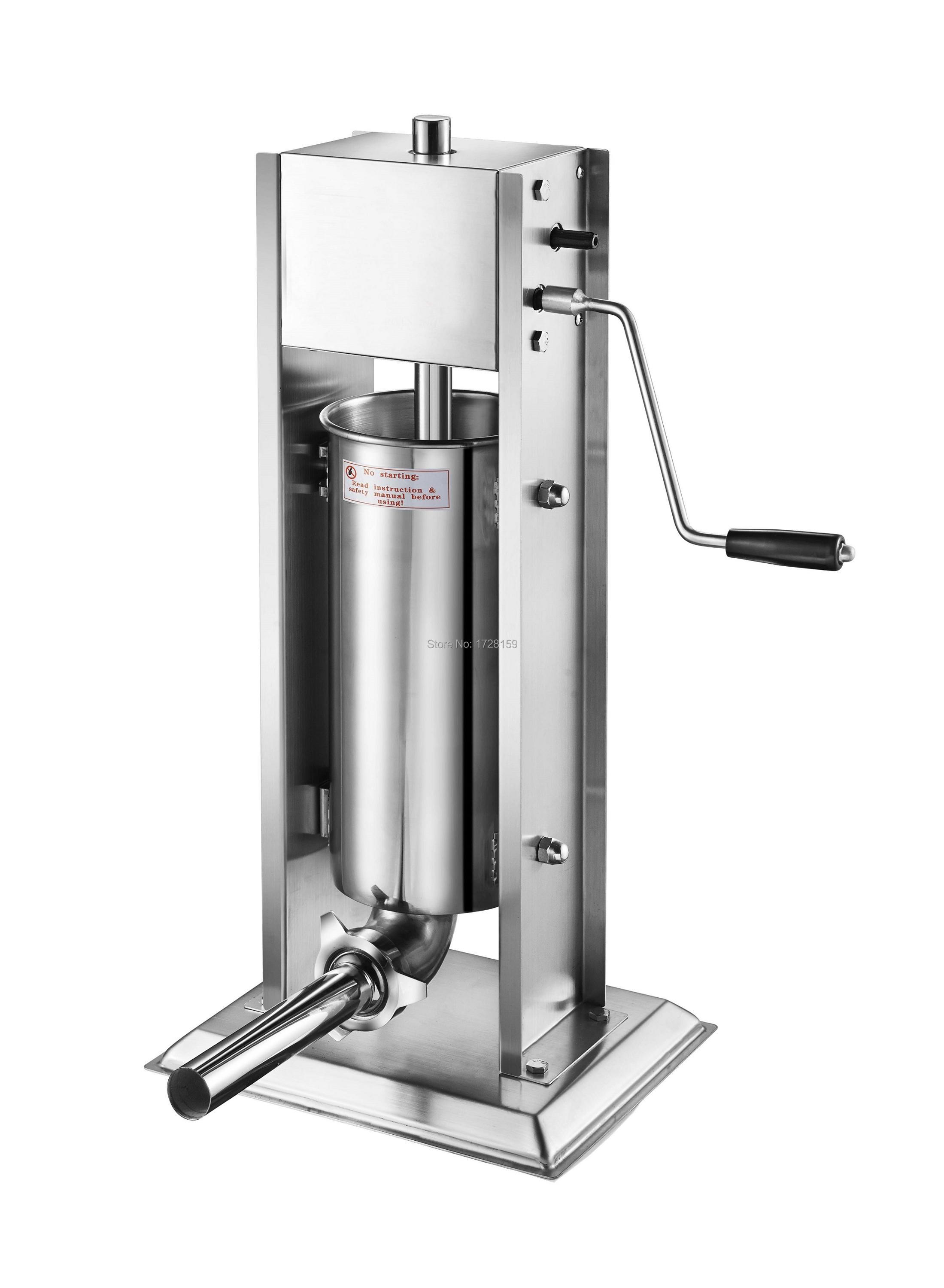 3L/7lb stainless steel  manual sausage meat stuffer, vertical sausage filling machine meat processor sausage stuffer ship from germany 5l stuffer maker machine commercial sausage filling machine sausage stainless steel with 4 filling pipes