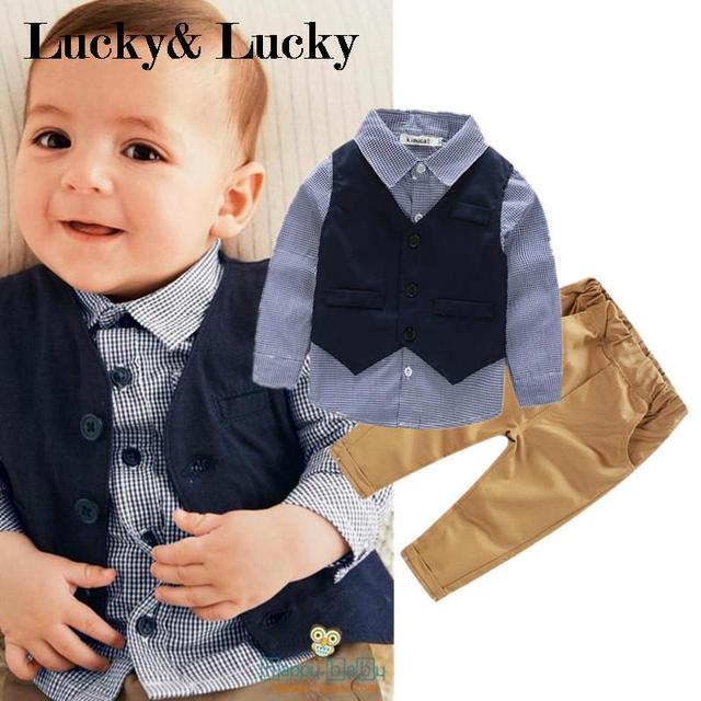 Kimocat baby boy clothes 3pcs/set vest+shirt+casual pants baby boy newborn clothes