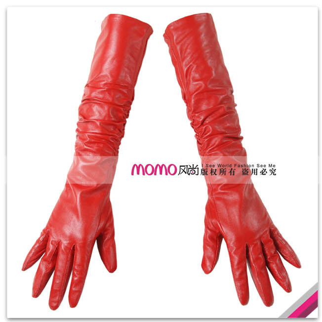 Fashion style women's 45cmt design sheepskin long gloves red genuine leather gloves