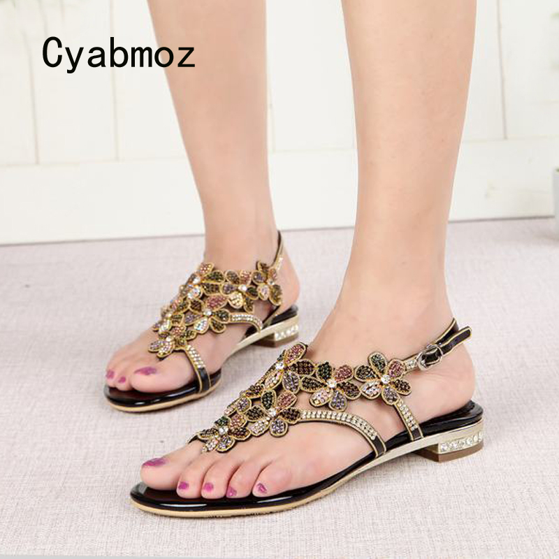 Cyabmoz Summer Sandals Shoes Woman Rhinestone Flower Women Ladies Party Wedding Shoes Zapatos mujer Tenis feminino Plus size plus size 34 44 summer shoes woman platform sandals women rhinestone casual open toe gladiator wedges women zapatos mujer shoes