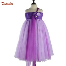 2019 New Purple Girls Unicorn Flower Tutu Dress Kids Crochet Tulle Strap Dress Ball Gown Ribbons Children Party Costume Dresses new girls yellow princess tutu dress kids crochet flower tail dress ball gown with headband children wedding cosplay party dress