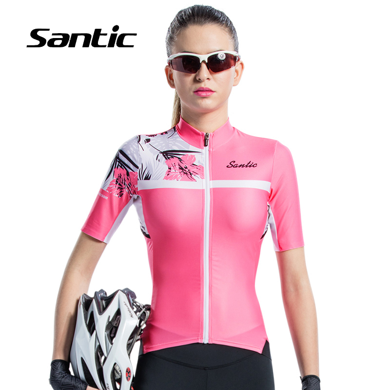 цена на Santic Summer Cycling Jersey Women Pink Short Sleeve Quick Dry Road Mountain Bike Jersey Breathable MTB Jersey Bicycle Shirt