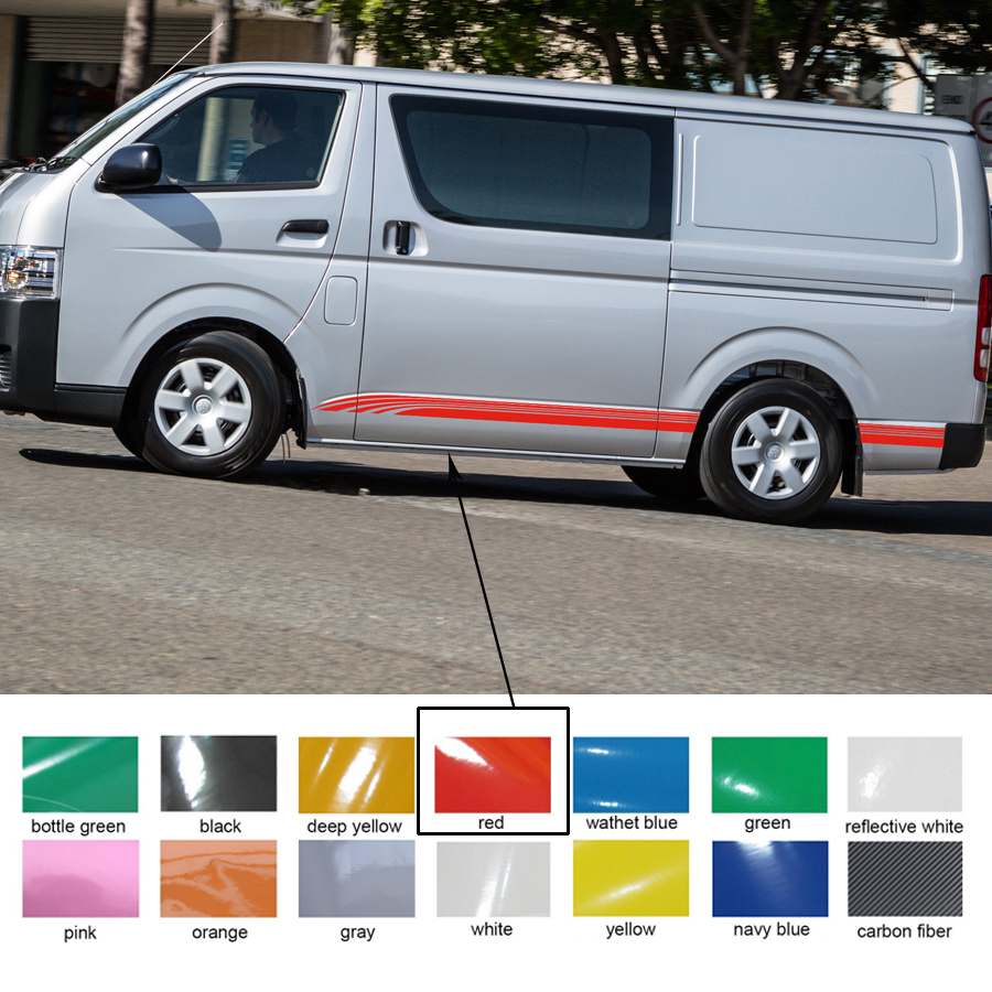 Car decal cool line side door stripe graphic vinyl car sticker for hiace 2015 2016 2017 in car stickers from automobiles motorcycles on aliexpress com