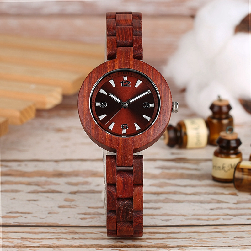 Women's Wood Watches Top Brand Unique Little Cute Dial Quartz Clock Ladies Dress Wooden Bangle Watch Environmentally Reloj Mujer