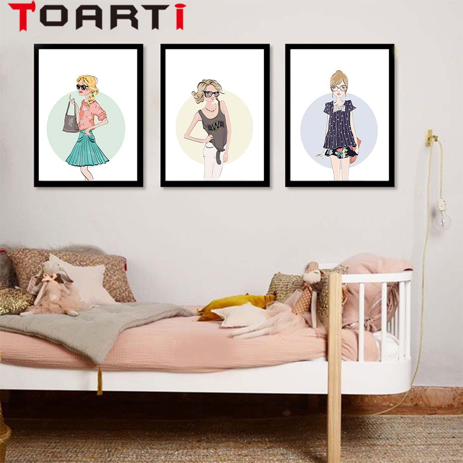 Modern Fashion Trendy Girl A4 Wall Art Canvas Painting Posters Prints Minimalist Pictures For Badroom Room No Frame