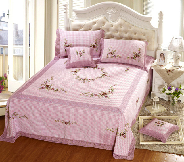 Quality Rustic Handmade Ribbon Embroidered Piece Bedding Set 5 Piece