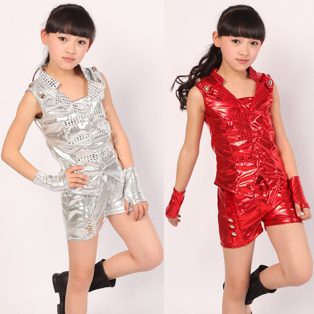 15a3ebce329b Children Shiny Leather Suit Modern Jazz Dance Clothes for Girls Dance Wear