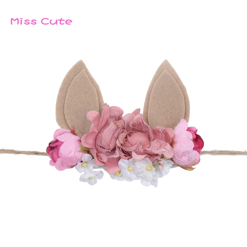 Easter Bunny Ears Headband For Baby Girls Handmade Flower Crown Rabbit Ears Headband Baby Photo Prop Easter Hair Accessories